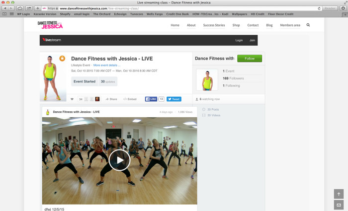 Dance fitness with Jessica live stream web page